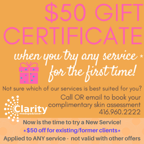 50 off promo by clarity med